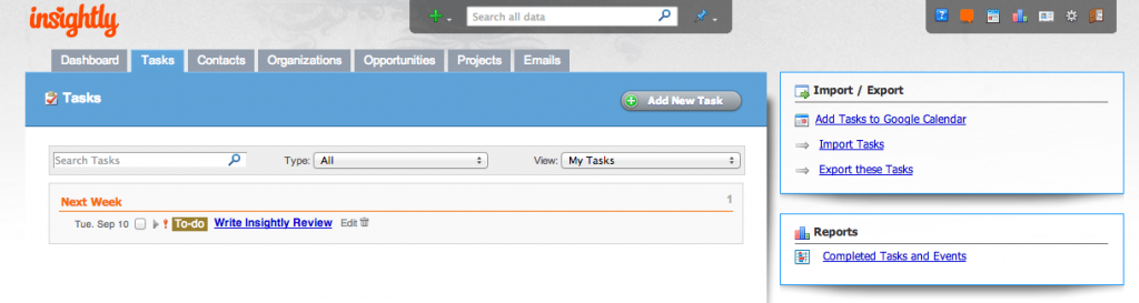 Insightly CRM Tool Interface